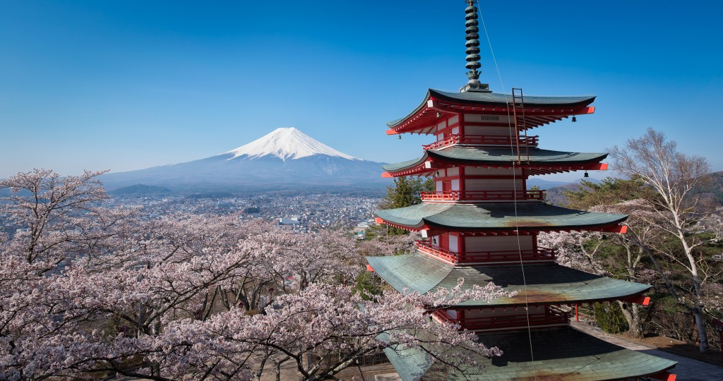 Mt. Fuji with the Chureito pagoda in spring